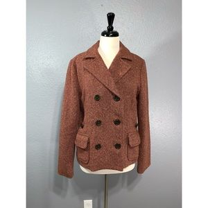 G A P | Pink Brown Tweed Double Breasted Coat 14